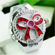 New Cute Exquisite Resin Bowknot Finger Ring Watch