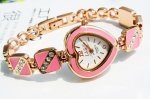 Women's Decorative Heart Rhinestone Bracelet Wrist Watch