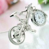 Silvery Excellent Bicycle Style Pendant Watch Necklace