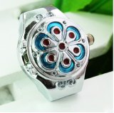 New Fashionable Blue Flower Finger Elastic Ring Watch