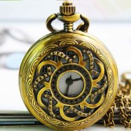 Exquisite retro style brass hollow classic pocket watch
