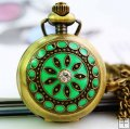 Decorative pendant pocket watch with green metal cover inner mirror