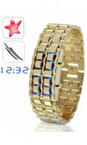 Gold Samurai LED Watch Remind You Golden Time LW008GB