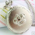 Antique silver crown cover classic pocket watch necklace