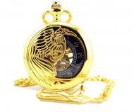 Golden Brass Skeleton Pocket Watch Chain Mechanical Hand Wind Half Hunter Steamp