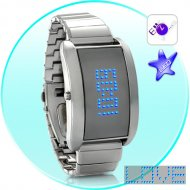 Blue Fiction - Metal Alloy LED Watch with Scrolling Text