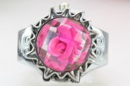 Embedded Flower Gorgeous Crystal Quartz Finger Ring Watch