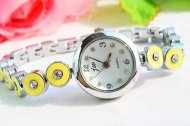 Yellow Round Shape Decorative Bracelet Wrist Watch