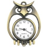 Pocket Watch Pendant - Antiqued Brass Owl - 43.5x32mm