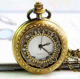 New brand antique bronzy hollow pocket watch necklace