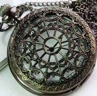 Retro Style Hollow Net Pattern Quartz Pocket Watch