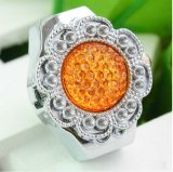 New Orange Deco Flower Rhinestones Finger Elastic Ring Watch