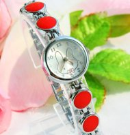 Red Color Stylish Rabbit Bracelet Wrist Watch