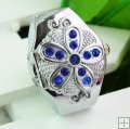 High Quality Floral Rhinestones Quartz Finger Ring Watch