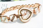 Fahion Design White Heart Shape Rhinestone Bracelet Wrist Watch