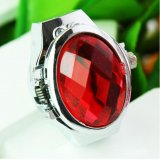 New Decorative Faceted Rhinestones Women Finger Ring Watch