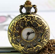 Classical brass hollow flower stripe pocket watch