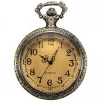 Steampunk Pocket Watch Pendant - Antiqued Brass With Topaz Glass Lid - 58x46mm