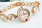 Exquisite Fashion Style Round Shape Rhinestone Bracelet Wrist Watch