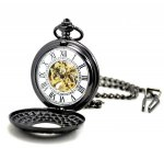 Vintage Black Skeleton Pendant Pocket Watch Mechanical Movement Hand Wind Steamp