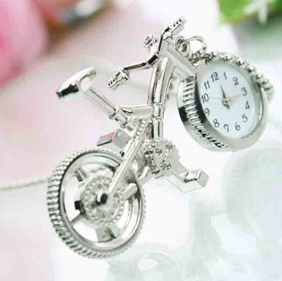 Silvery Excellent Bicycle Style Pendant Watch Necklace - Click Image to Close