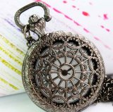 Bronzy net pattern classic quartz pocket watch
