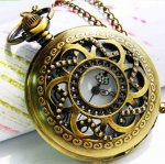 Exquisite retro style bronzy hollow whirlwind pocket watch