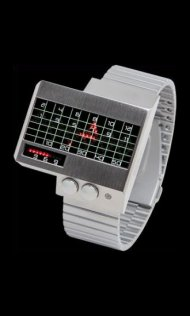 Silver Heartbeat Watches with Red LEDs