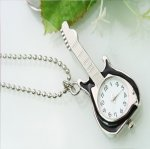 Fashion Stylish Silver Guitar Pendant Watch Necklace