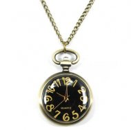 Pocket Watch Pendant - Black Dial Rotundity Pattern Case Antique Style Delicate