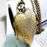 Stylish Brass Heart Shape Stripe Deco Pocket Watch