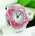 Flower Exquisite Rhinestones Finger Elastic Ring Watch For Women