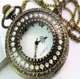 Fashion Design Pendant Pocket Watch With Exquisite Rhinestone Cover