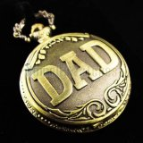 Pocket Watch Pendant - Vintage DAD Pattern Mens Ladies Quartz Pocket Watches