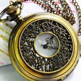 Stylish bronzy vine stripe quartz classic pocket watch