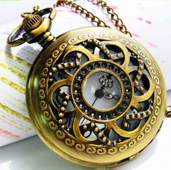 Exquisite retro style bronzy hollow whirlwind pocket watch - Click Image to Close