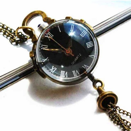 Black Euro Stylish Women Clear Glass Pocket Watch - Click Image to Close