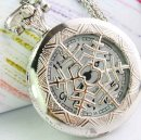 Fashionable silver snowflake cover pocket watch necklace