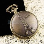 Pocket Watch Pendant - Vintage Paris Eiffel Tower Mens Ladies Quartz Pocket Watc