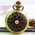 Crystal pendant pocket watch with black metel cover inner mirror