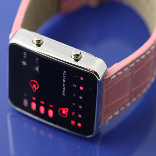 Multicolor Binary LED Watches japanes style pink