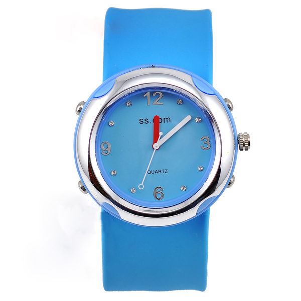 SEO_COMMON_KEYWORDS Slap Silicone Watch fashion sky blue fashionable Quartz Slap