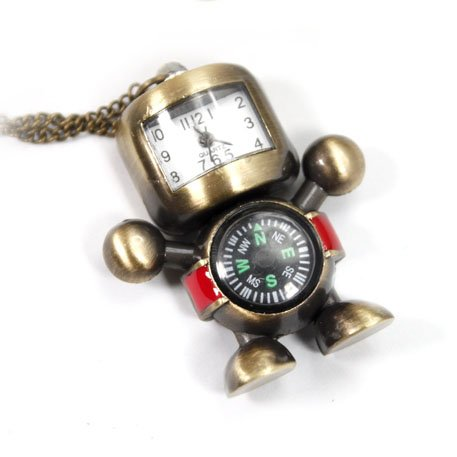 Pocket Watch Pendant - Robot and Compass Lovely Style Delicate Design Pocket Wat