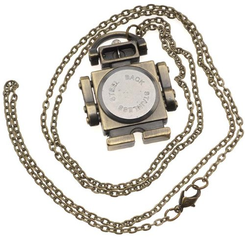 Pocket Watch Pendant - Antiqued Brass Quartz Motion - Robot With Chain - 40x33mm