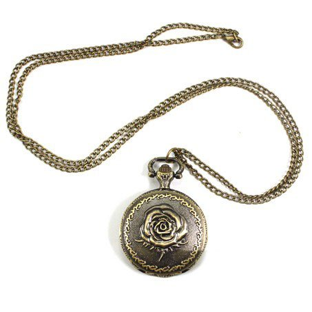 Pocket Watch Pendant - Middle Size Rose Embossment Design Rotundity Pattern Case