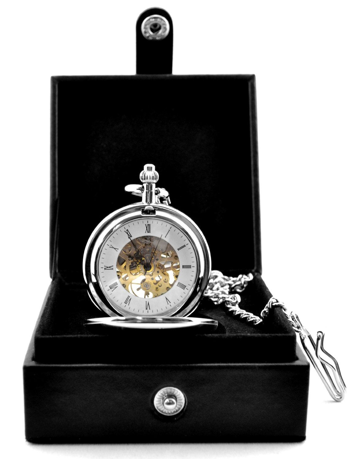 Silvertone Brass Skeleton Pocket Watch Mechanical Hand Wind Roman Numerals Full