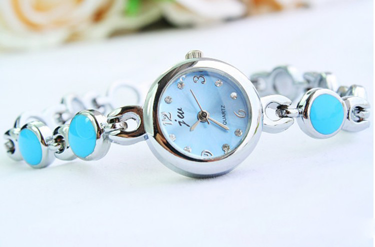 SEO_COMMON_KEYWORDS Beautiful Round Decorative Blue Bracelet Wrist Watch
