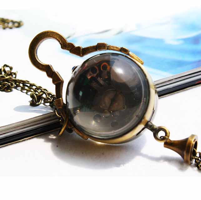 Black Euro Stylish Women Clear Glass Pocket Watch