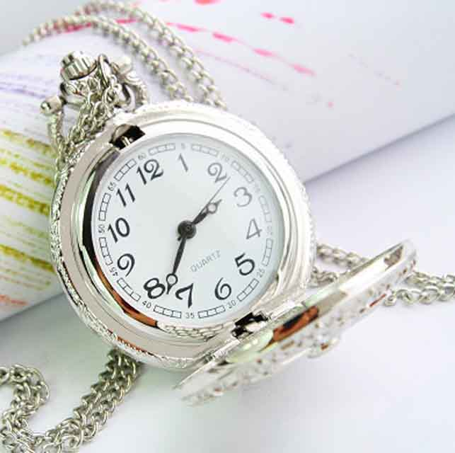Metal silver cross classic pendant pocket watch