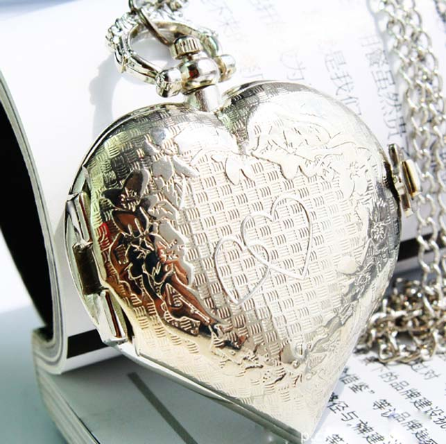 SEO_COMMON_KEYWORDS New Silver Lovely Pocket Watch with Heart Shape Cover